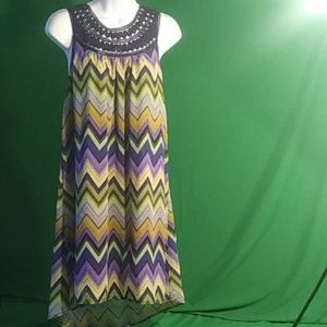 Umgee L multicolored chevron sleeveless dress